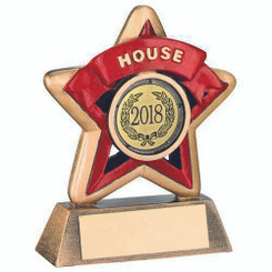 Mini Star 'House' Trophy - Brz/Gold/Red (1In Centre) 3.75In