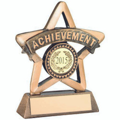 Brz/Gold Resin 'Achievement' Mini Star Trophy - (1In Centre) 4.25In