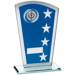 Blue/Silv Printed Glass Shield With Wreath/Star Design Trophy - (1In Cen) 8In