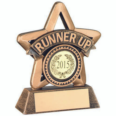 Brz/Gold Resin 'Runner Up' Mini Star Trophy - (1In Centre) 3.75In