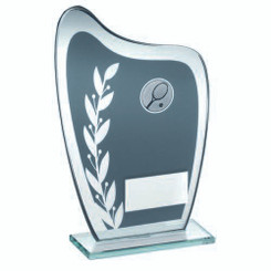 Grey/Silver Glass Plaque With Tennis Insert Trophy - 6.5In