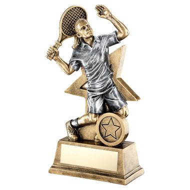 Brz/Gold/Pew Female Tennis Figure With Star Backing Trophy (1In Centre) - 9In