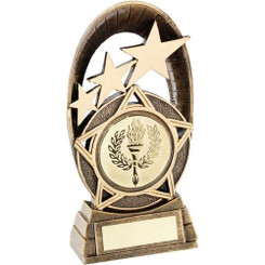 Brz/Gold Generic Tri Star Oval Plaque Trophy - (2In Centre) 6.5In