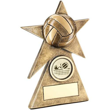 Brz/Gold Volleyball Star On Pyramid Base Trophy - (1In Centre) - 5In