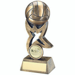 Brz/Gold Volleyball On Star Trophy Riser Trophy - (1In Centre) 4In