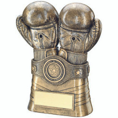 Brz/Gold Boxing Gloves And Belt Trophy - (1In Centre) 8In