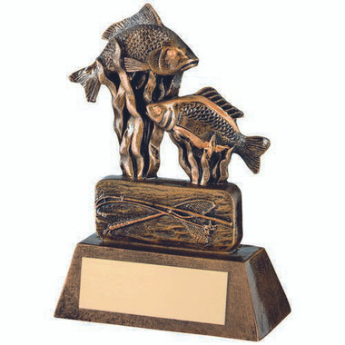 Brz/Gold Resin Angling Trophy - 8In