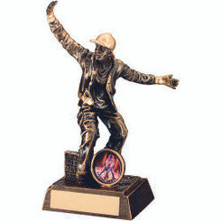 Brz/Gold Resin Street Dance Figure Trophy - Male (1In Centre) 7.25In