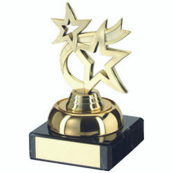 Gold Plastic And Marble 'Dancing Star' Trophy - 3.75In