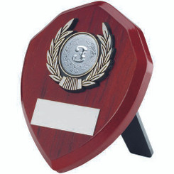 Rosewood Shield And Silver Trim Trophy - (1In Centre) 6In