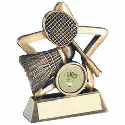Brz/Gold Badminton Mini Star Trophy - (1In Centre) 4.25In
