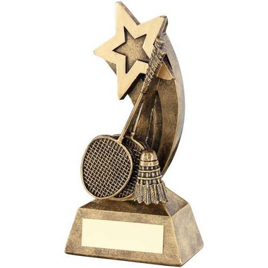 Brz/Gold Badminton Rackets/Shuttlecock With Shooting Star Trophy - 5.75In