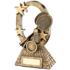Brz/Gold Badminton Oval/Stars Series Trophy - (1In Centre) 6.25In