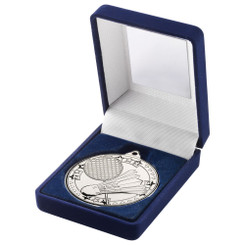 Blue Velvet Box And 50Mm Medal Badminton Trophy - Silver - 3.5In