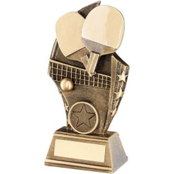 Brz/Gold Table Tennis Curved Plaque Trophy - (1In Centre) 6In