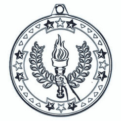 Victory Torch 'Tri Star' Medal - Silver 2In