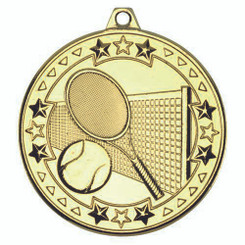 Tennis 'Tri Star' Medal - Gold 2In