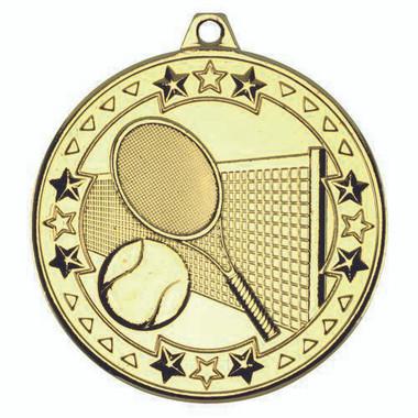 Tennis 'Tri Star' Medal - Gold 2In