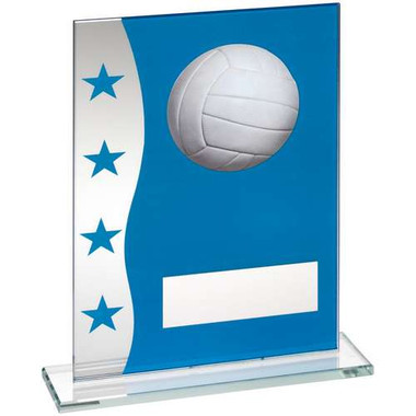 Blue/Silver Printed Glass Plaque With Netball Image Trophy - 6.5In
