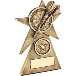 GOLD/BLACK SHOOTING STAR WITH DARTS INSERT TROPHY - 7.75in
