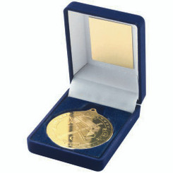 Blue Velvet Box And 50Mm Medal Hockey Trophy - Gold 3.5In
