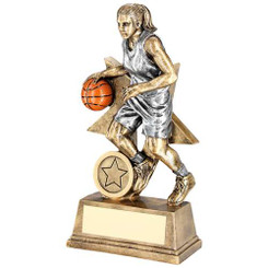 Brz/Pew/Orange Female Basketball Figure With Star Backing Trophy (1In Cen) - 6In