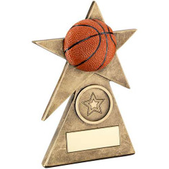Brz/Gold/Orange Basketball Star On Pyramid Base Trophy - (1In Centre) - 4In