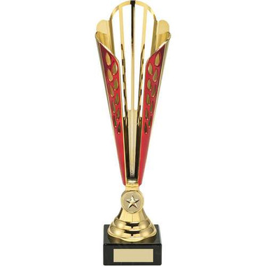 Gold/Red Tall Plastic Trophy - (1In Centre) 14In