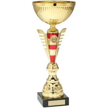 Gold/Red Stripey Stem Trophy - (1In Centre) 13.25In