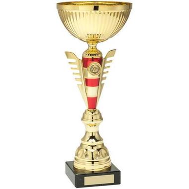 Gold/Red Stripey Stem Trophy - (1In Centre) 14.75In