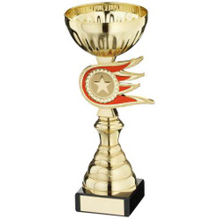 Gold/Red Fireball Spacer Trophy - (1In Centre) 8In