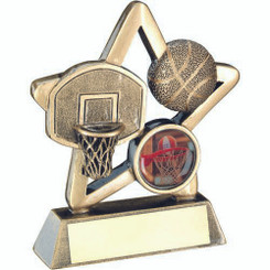 Brz/Gold Basketball Mini Star Trophy - (1In Centre) 4.25In