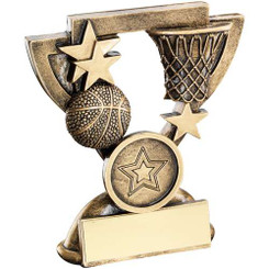 Brz/Gold Basketball Mini Cup Trophy - (1In Centre) 4.25In