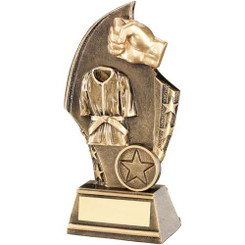 Brz/Gold Martial Arts Curved Plaque Trophy - (1In Centre) 6.75In