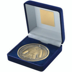 Blue Velvet Box And 70Mm Medallion Martial Arts Trophy - Antique Gold 4In