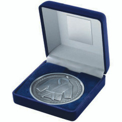 Blue Velvet Box And 70Mm Medallion Martial Arts Trophy - Antique Silver 4In