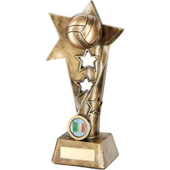 Brz/Gold Gaelic Football Twisted Star Column Trophy - (1In Centre) 10.25In