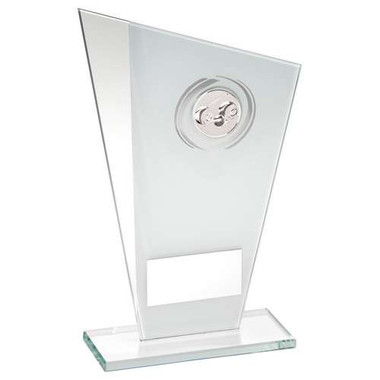 White/Silver Printed Glass Plaque With Lawn Bowls Insert Trophy - 6.5In