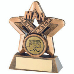 Brz/Gold Man Of The Match Mini Star With Hockey Insert Trophy - 3.75In