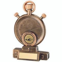 Brz/Gold Swimming Stopwatch On Podium Trophy - (1In Centre) 7In