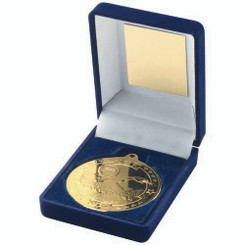 Blue Velvet Box And 50Mm Medal Swimming Trophy - Gold 3.5In