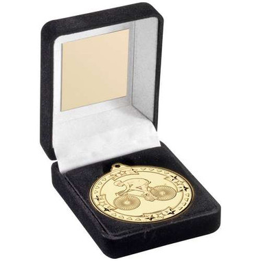 Black Velvet Medal Box And 50Mm Medal Cycling Trophy - Gold - 3.5In