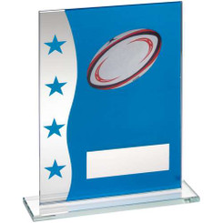 Blue/Silver Printed Glass Plaque With Rugby Ball Image Trophy - 8In