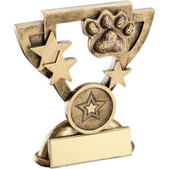 Brz/Gold Dog Paw Mini Cup Trophy - (1In Centre) 3.75In