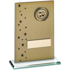 Gold/Black Printed Glass Rectangle With Cards Insert Trophy - 6.75In