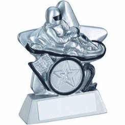 Go Kart Mini Star Trophy (1In Centre) - Silver/Black 3.75In