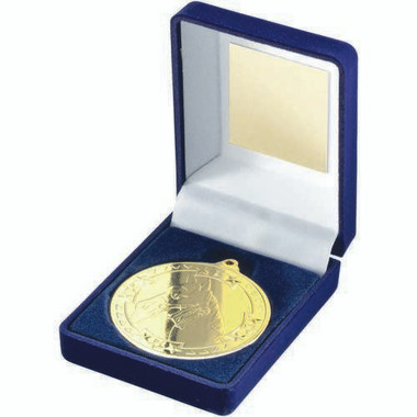 Blue Velvet Box And 50Mm Medal Horse Trophy - Gold 3.5In