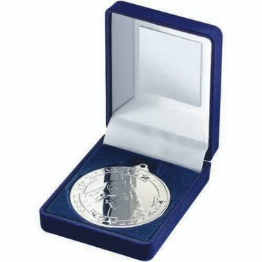 Blue Velvet Box And 50Mm Medal Horse Trophy - Silver 3.5In