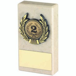 Cream Marble And Gold Trim Trophy - (1In Centre) 4In