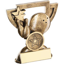 Brz/Gold Ten Pin Mini Cup Trophy - (1In Centre) 4.25In